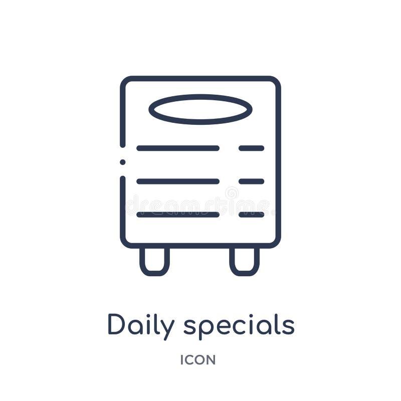los specials diarios suben al icono de la colección del esquema de las herramientas y de los utensilios La línea fina specials di ilustración del vector