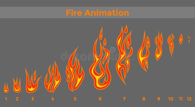 Los sprites del fuego plano para la animación enmarcan iconos libre illustration