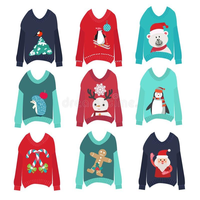 Los suéteres feos lindos de la Navidad fijaron la colección del partido del suéter ilustración del vector