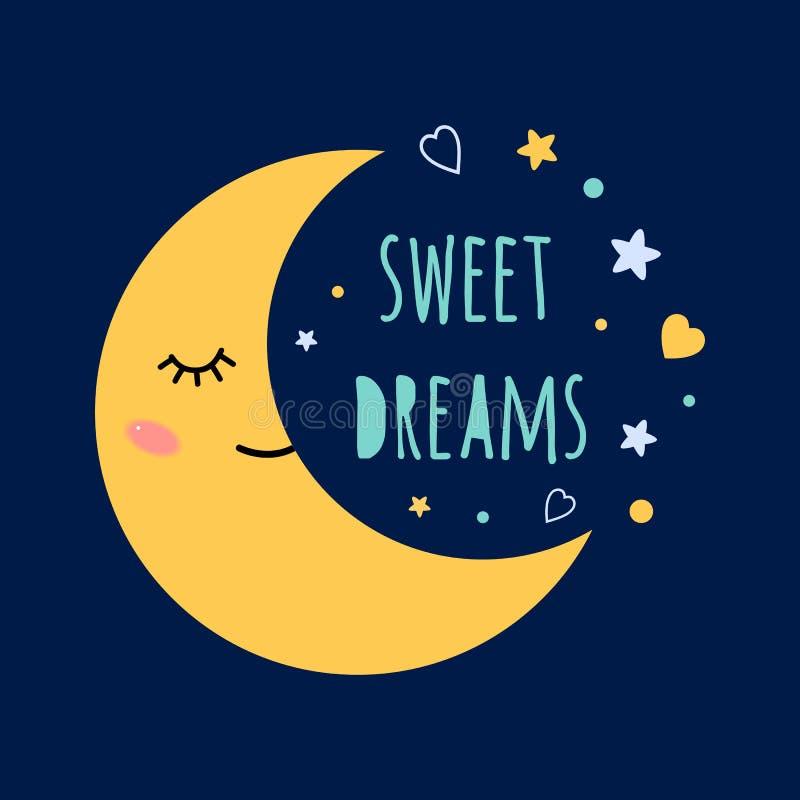Los sueños dulces mandan un SMS en la luna del sueño del fondo de la oscuridad con los ojos en el cielo alrededor de las estrella stock de ilustración