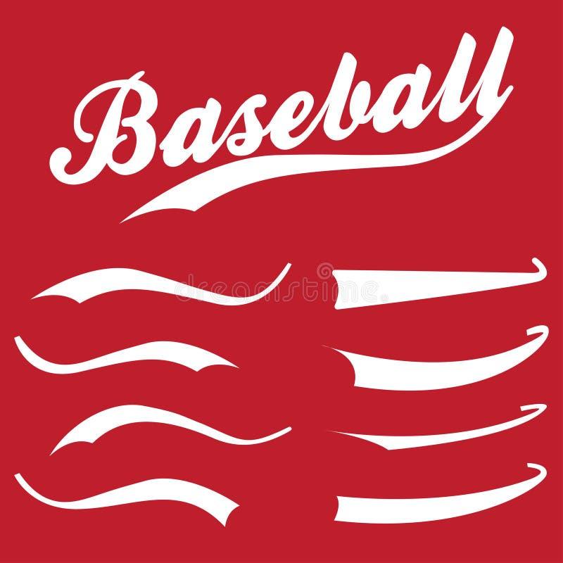 Los Swooshes, elementos de la raya para los deportes diseñan, tipografía para la camiseta Silbidos dibujados mano retra del béisb stock de ilustración