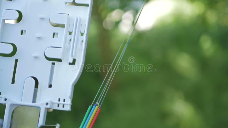 Los técnicos están instalando la fibra óptica con las bridas de plástico imágenes de archivo libres de regalías