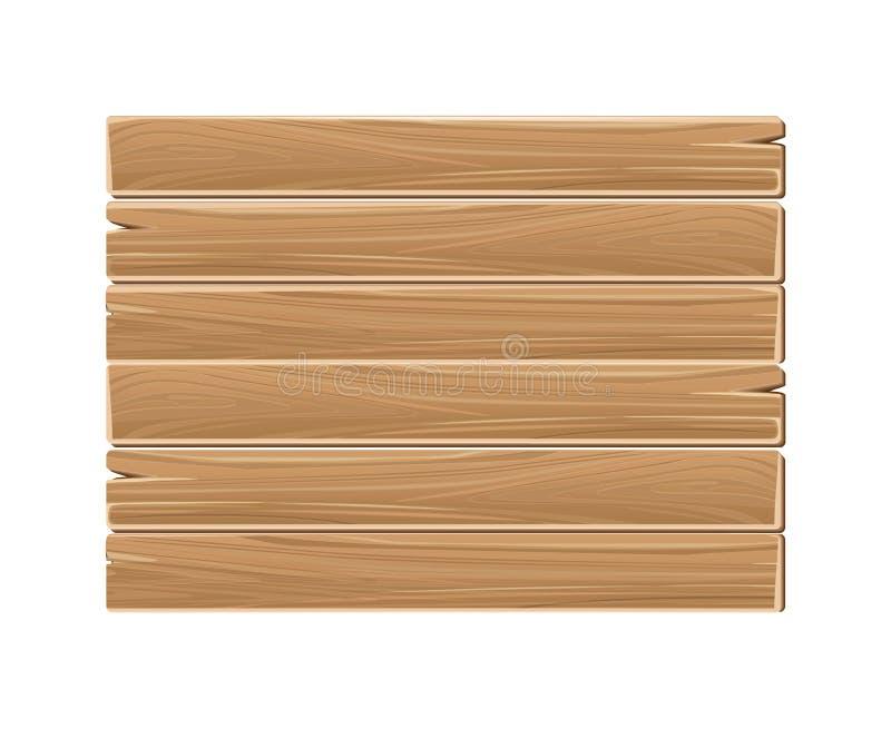 Los tablones en blanco de madera de la muestra suben aislado en blanco stock de ilustración