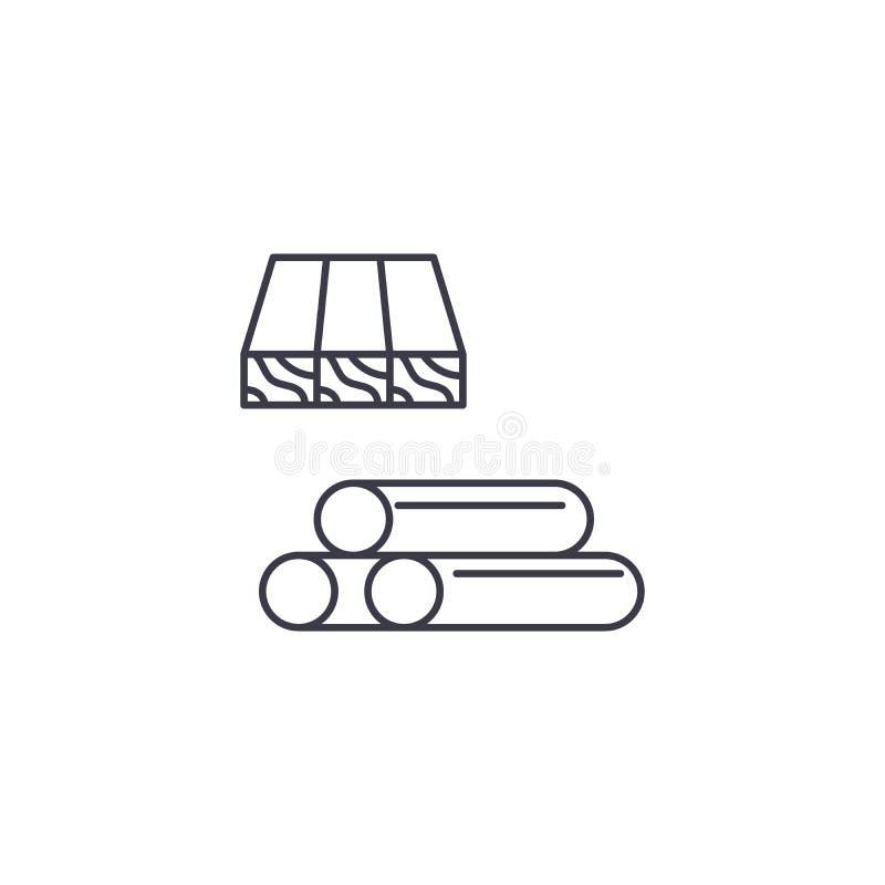 Los tablones y los rollos de madera vector la línea icono, muestra, ejemplo en el fondo, movimientos editable stock de ilustración