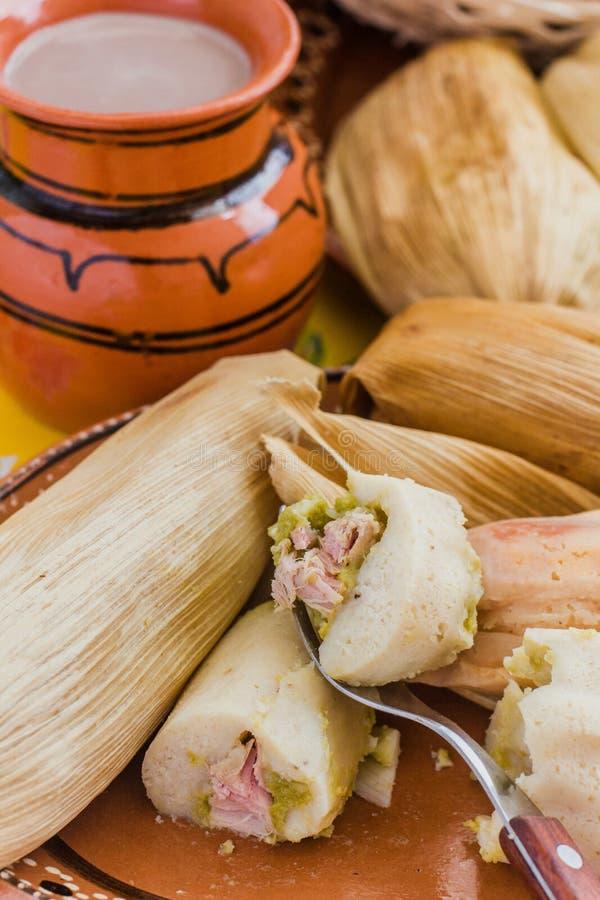 Los tamales mexicanos archivaron la pasta del ma?z, comida picante en M?xico foto de archivo libre de regalías