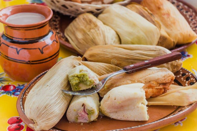 Los tamales mexicanos archivaron la pasta del ma?z, comida picante en M?xico foto de archivo