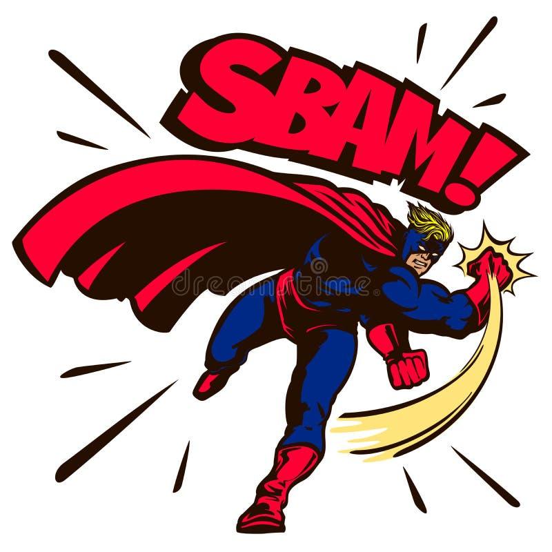 Los tebeos del vintage del arte pop diseñan el ejemplo de perforación del vector del super héroe libre illustration