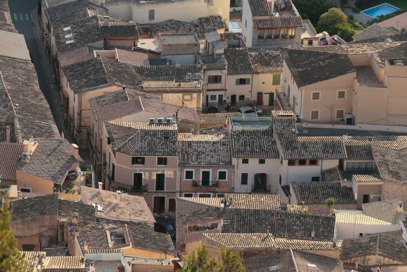 Los tejados del pueblo de Bunyola fotografía de archivo libre de regalías