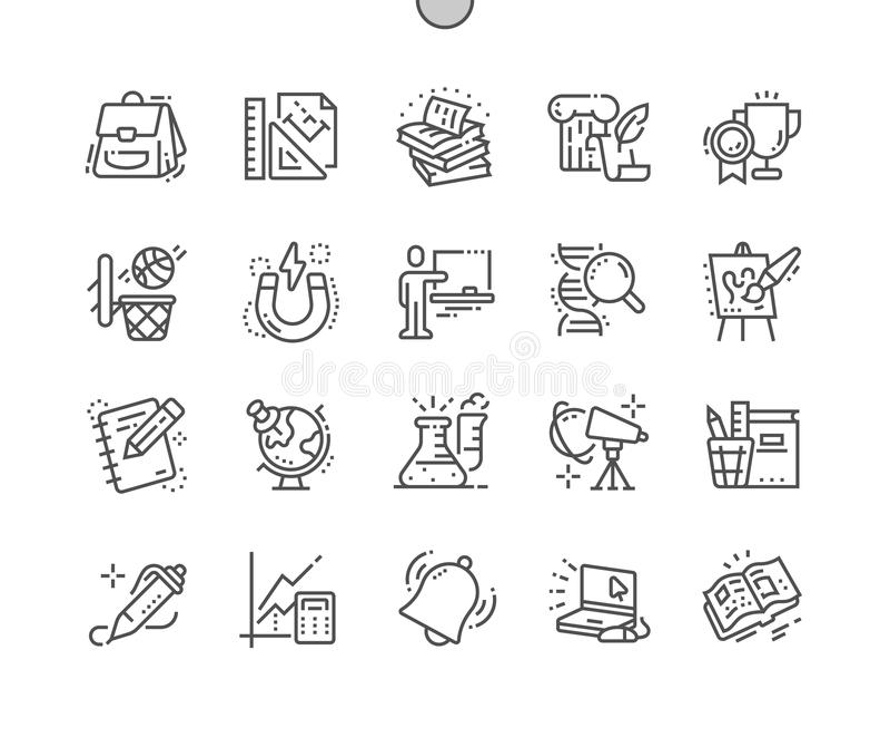 Los temas de escuela Bien-hicieron la línea fina rejilla 2x de los iconos 30 del vector a mano perfecto del pixel para los gráfic ilustración del vector
