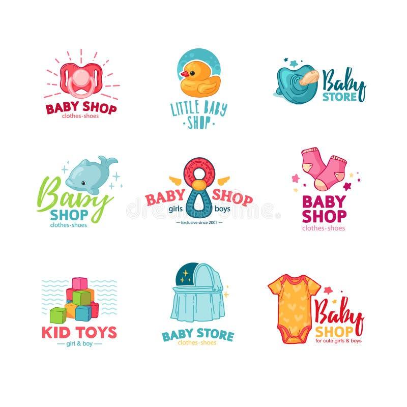 Los templae determinados dise?an el logotipo del color para la tienda del beb? El s?mbolo, la etiqueta y la insignia para los ni? stock de ilustración