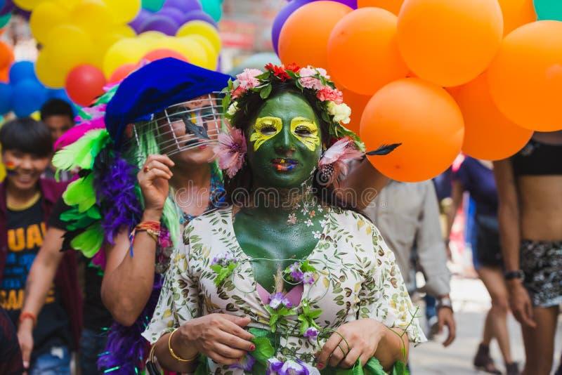 Los terceros géneros celebran el festival de Gaijatra en Katmandu Nepal foto de archivo libre de regalías