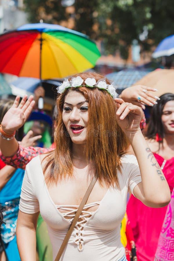 Los terceros géneros celebran el festival de Gaijatra en Katmandu Nepal fotos de archivo libres de regalías