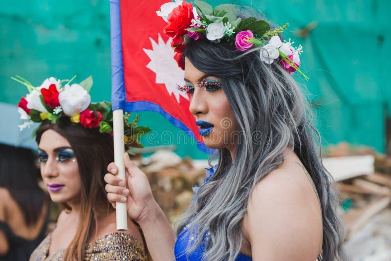 Los terceros géneros celebran el festival de Gaijatra en Katmandu Nepal fotografía de archivo