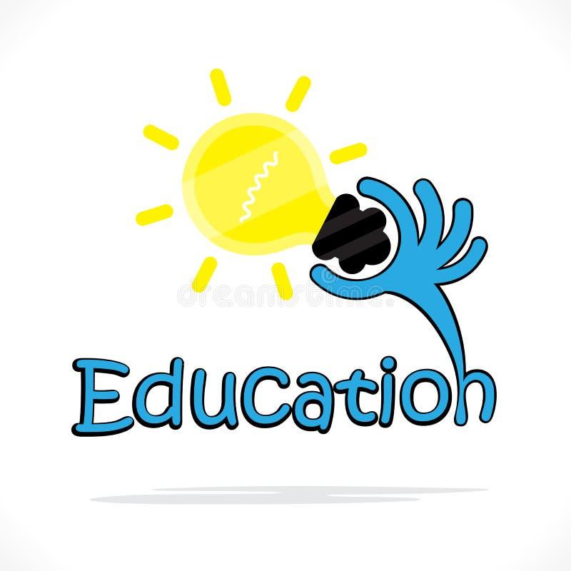Los textos y la mano del título de la educación forman con la bombilla creativa sy ilustración del vector