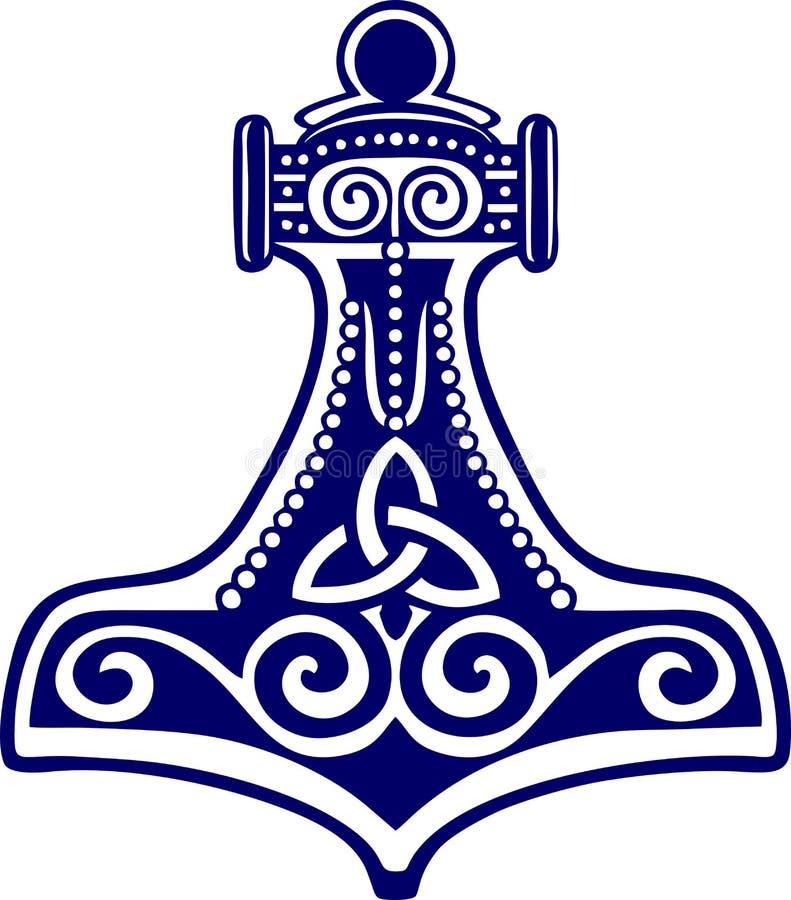 Martillo de los Thors - amulett de la protección stock de ilustración