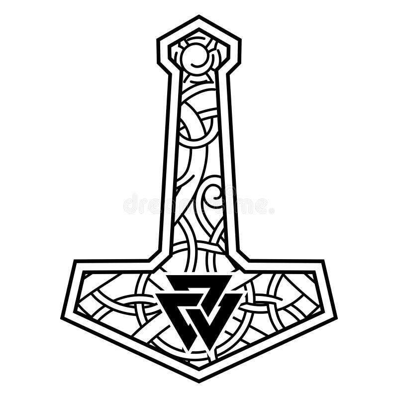 Los Thors martillan - Mjolnir y el ornamento escandinavo ilustración del vector