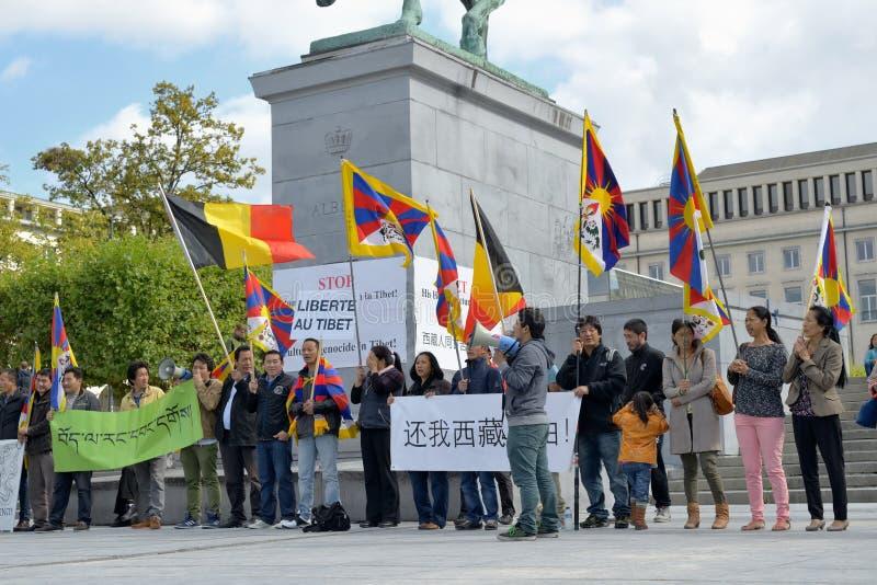Los tibetanos demuestran para la libertad imagenes de archivo