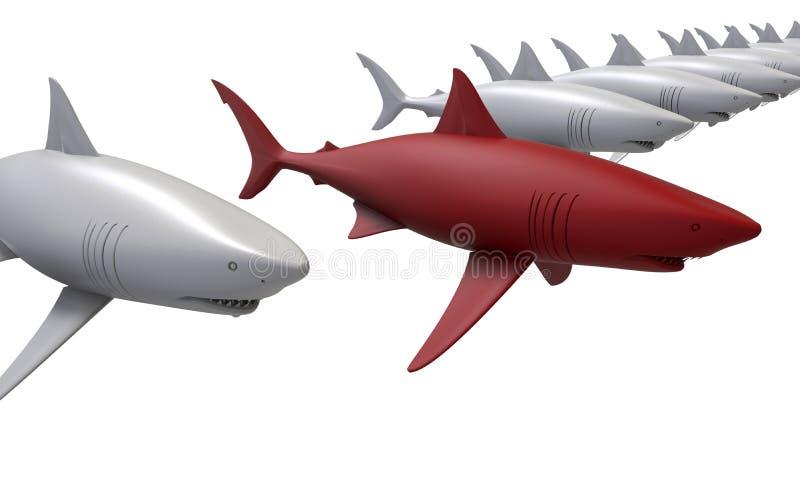 Los tiburones apuntan en una línea concepto stock de ilustración
