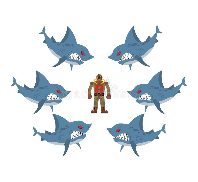 Los tiburones enojados rodearon al hombre en traje de salto viejo Miedo, s desesperado libre illustration