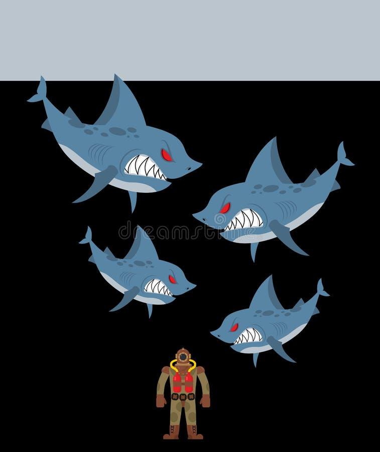 Los tiburones rodea al buceador Abismo subacuático y tiburones malvados stock de ilustración