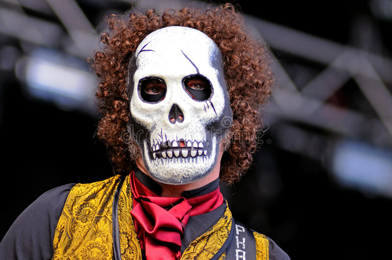 Los Tiki Phantoms, Spanish band which performs their concerts disguised with skull masks at FIB Festival. BENICASSIM, SPAIN - JULY 12: Los Tiki Phantoms, Spanish stock photography