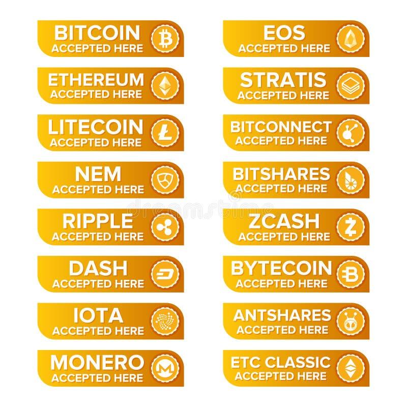 Los tipos crypto principales botones de la moneda del pago fijaron en fondo transparente ilustración del vector
