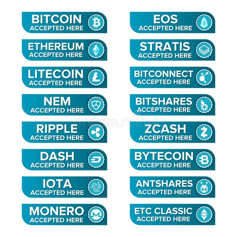 Los tipos crypto principales botones de la moneda del pago fijaron en fondo transparente stock de ilustración