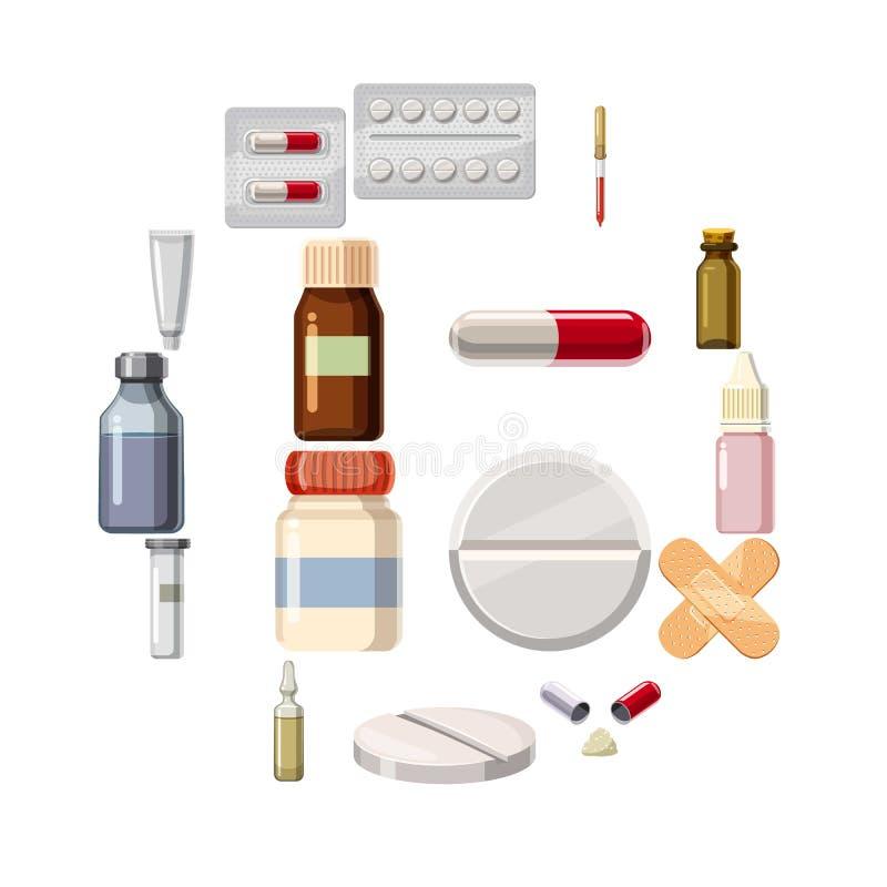 Los tipos de drogas de la medicina iconos fijaron, estilo de la historieta ilustración del vector