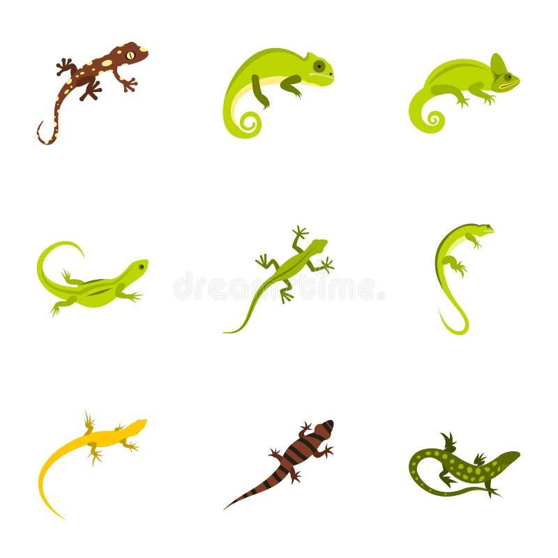 Los tipos de iconos de la iguana fijaron, estilo plano ilustración del vector