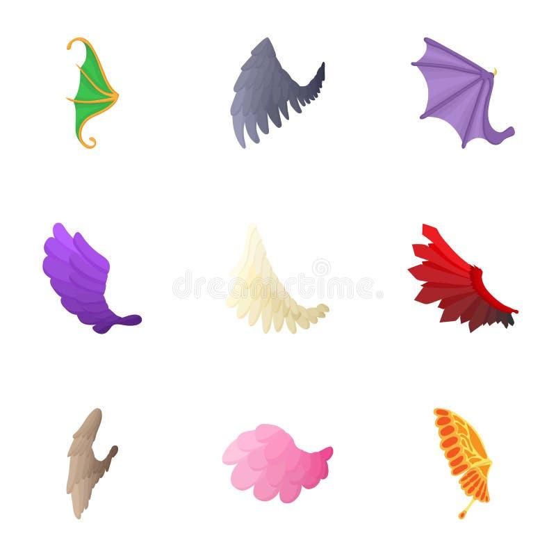Los tipos de iconos de las alas fijaron, estilo de la historieta ilustración del vector