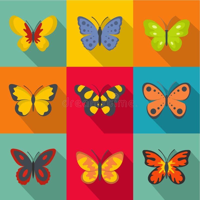 Los tipos de iconos de las mariposas fijaron, estilo plano ilustración del vector