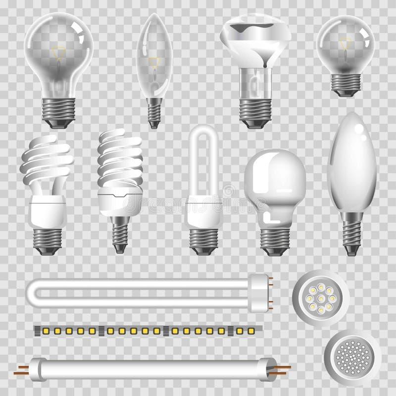 los tipos de las lámparas 3D de vector llevado de los bulbos aislaron iconos ilustración del vector