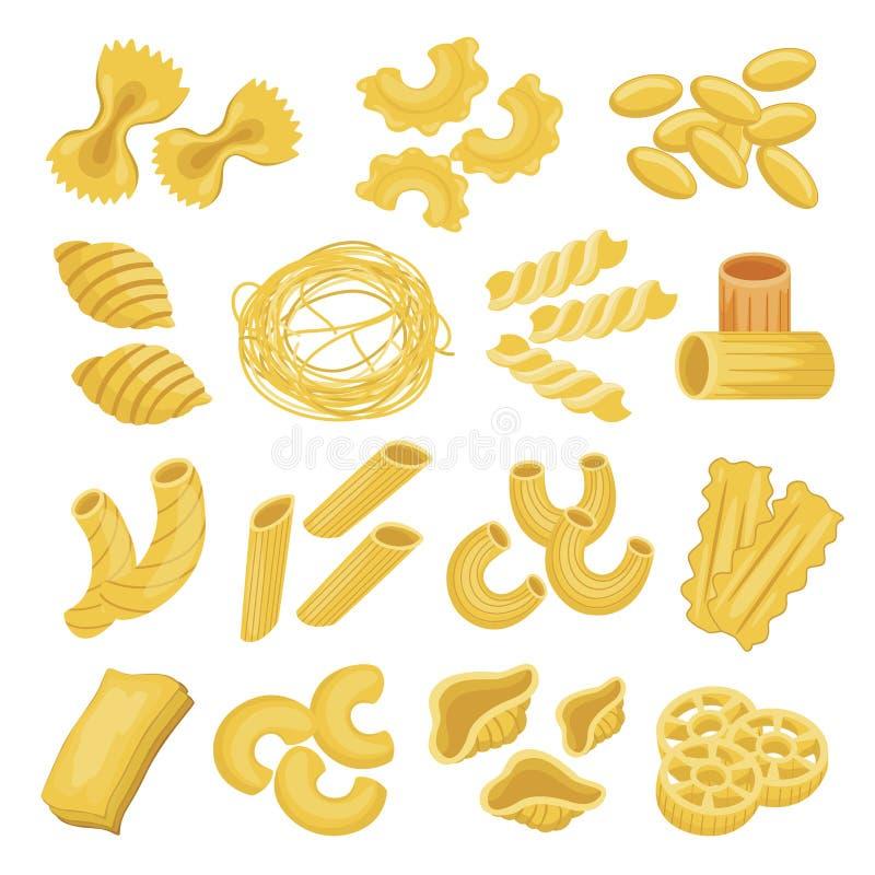 Los tipos de las pastas fijaron, los tallarines y los macarrones italianos stock de ilustración