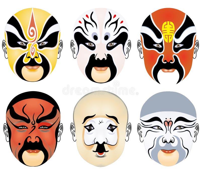 Los tipos de maquillaje facial en la ópera de Pekín fijaron seises ilustración del vector