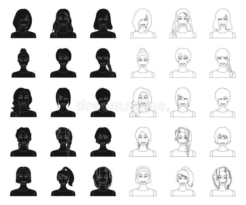 Los tipos de peinados femeninos ennegrecen, resumen iconos en la colección del sistema para el diseño Aspecto de una acción del s libre illustration