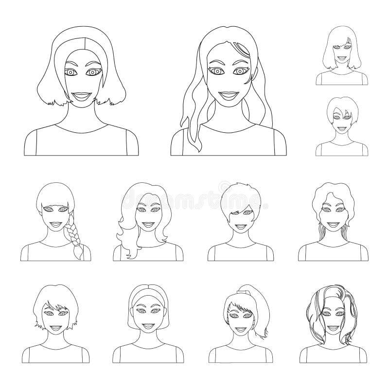 Los tipos de peinados femeninos resumen iconos en la colección del sistema para el diseño Aspecto de un web de la acción del símb stock de ilustración