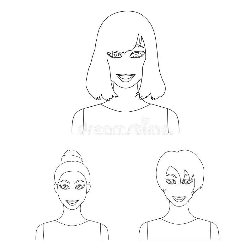 Los tipos de peinados femeninos resumen iconos en la colección del sistema para el diseño Aspecto de un web de la acción del símb ilustración del vector