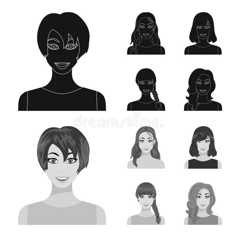 Los tipos de peinados femeninos se ennegrecen, los iconos del monochrom en la colección del sistema para el diseño Aspecto de una ilustración del vector