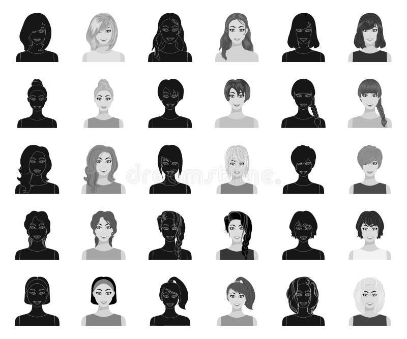 Los tipos de peinados femeninos se ennegrecen, los iconos monocromáticos en la colección del sistema para el diseño Aspecto de un stock de ilustración