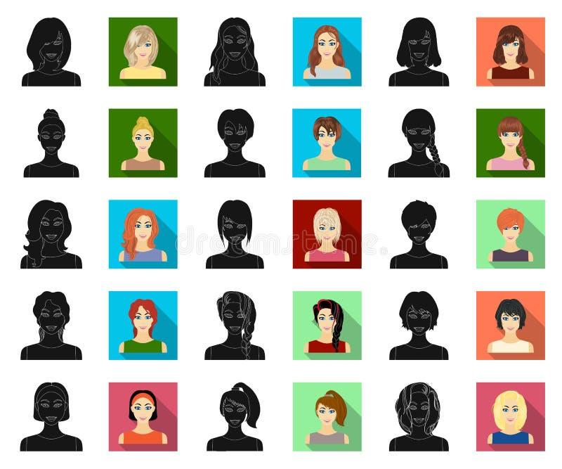 Los tipos de peinados femeninos se ennegrecen, los iconos planos en la colección del sistema para el diseño Aspecto de un web de  ilustración del vector