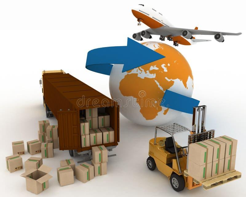 Los tipos de transporte del transporte son cargas ilustración del vector