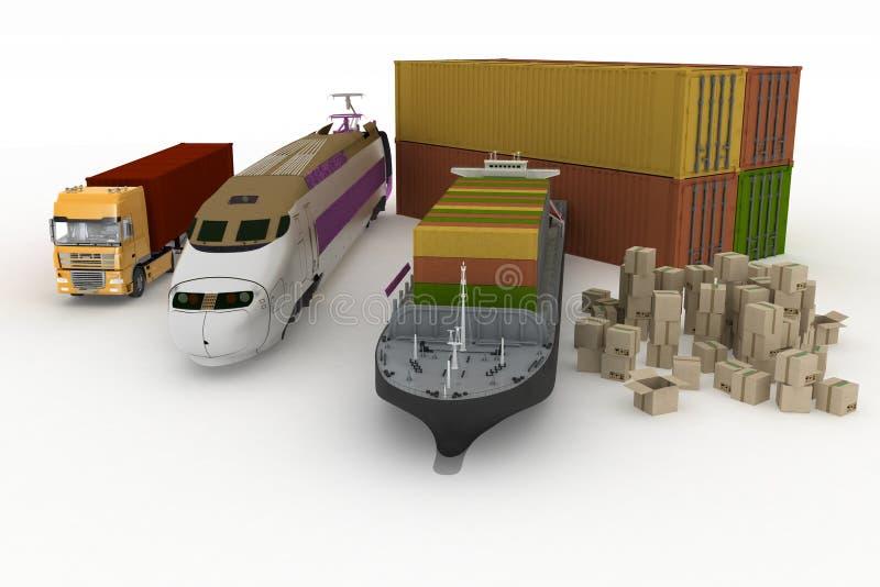 Los tipos de transporte del transporte son cargas stock de ilustración