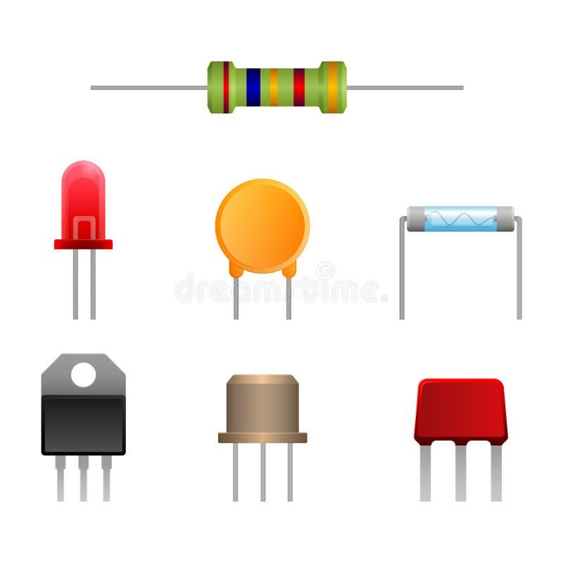 Los tipos del diodo fijaron, ilustration del vector de los componentes electrónicos del dos-terminal ilustración del vector