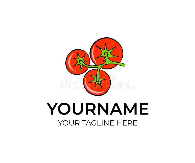 Los tomates rojos en manojo en rama aislaron la plantilla del logotipo Cultive las verduras, diseño orgánico natural del vector d ilustración del vector