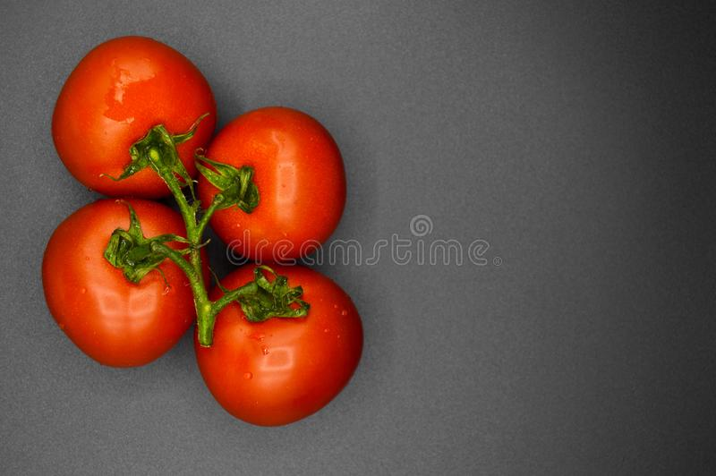 Los tomates rojos org?nicos frescos l?an foto de archivo libre de regalías