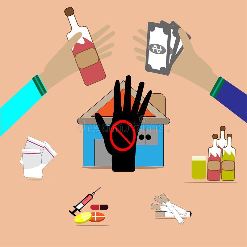 Los tráficos de droga son ilegales - Vector las imágenes de tráficos de droga ilustración del vector