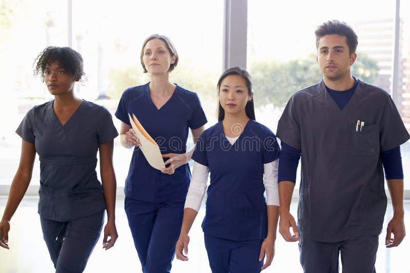 Los trabajadores de la atención sanitaria caminan a través de hospital con las notas pacientes fotos de archivo libres de regalías