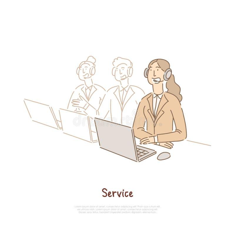 Los trabajadores del soporte técnico combinan, ayudante en auriculares, encargado de ventas, servicio de atención al cliente, ban stock de ilustración