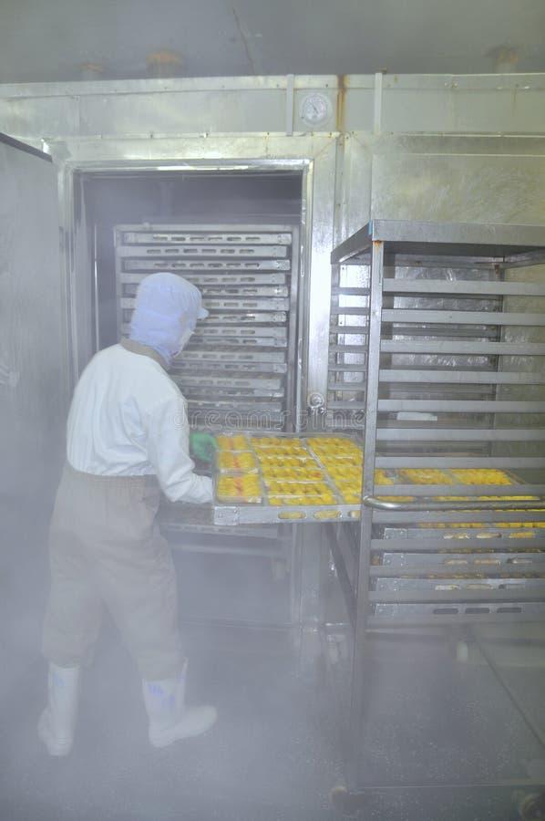 Los trabajadores están trabajando difícilmente en un ambiente frío en una fábrica de los mariscos en la ciudad de Ho Chi Minh, Vi imágenes de archivo libres de regalías