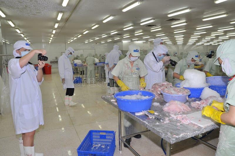 Los trabajadores están trabajando en una planta de tratamiento en Tien Giang, una provincia de los mariscos en el delta del Mekon fotografía de archivo